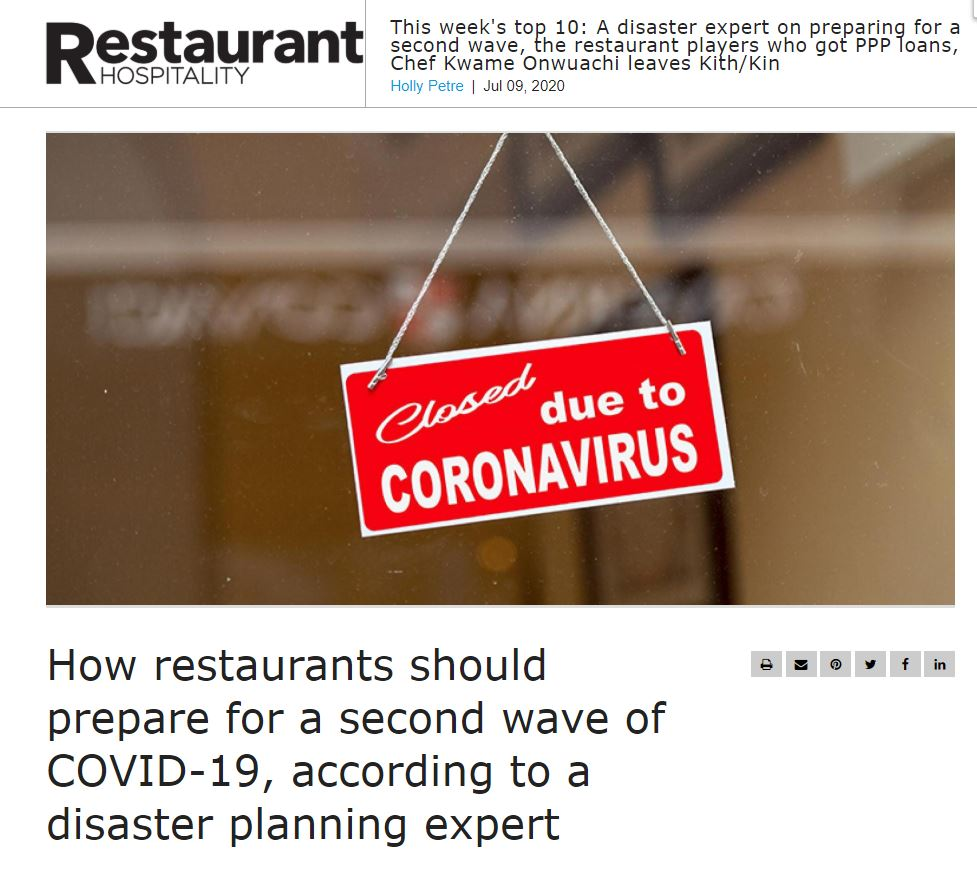 How restaurants should prepare for a second wave of COVID-19, according to a disaster planning expert